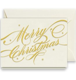 Crane Engraved Merry Christmas Ribbon Gift Enclosure Card