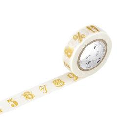mt Number/Symbol Gold Washi Tape