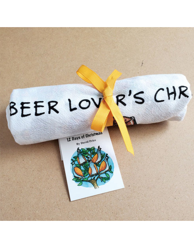 Allport Editions A Beer Lover's Christmas Tea Towel12 Days of Christmas song with Beer icons, shaped like a Christmas tree  Description: 100% Cotton flour-sack towel, tied with ocher yellow ribbon for easy gift-giving!  Dimensions: 18 x 26