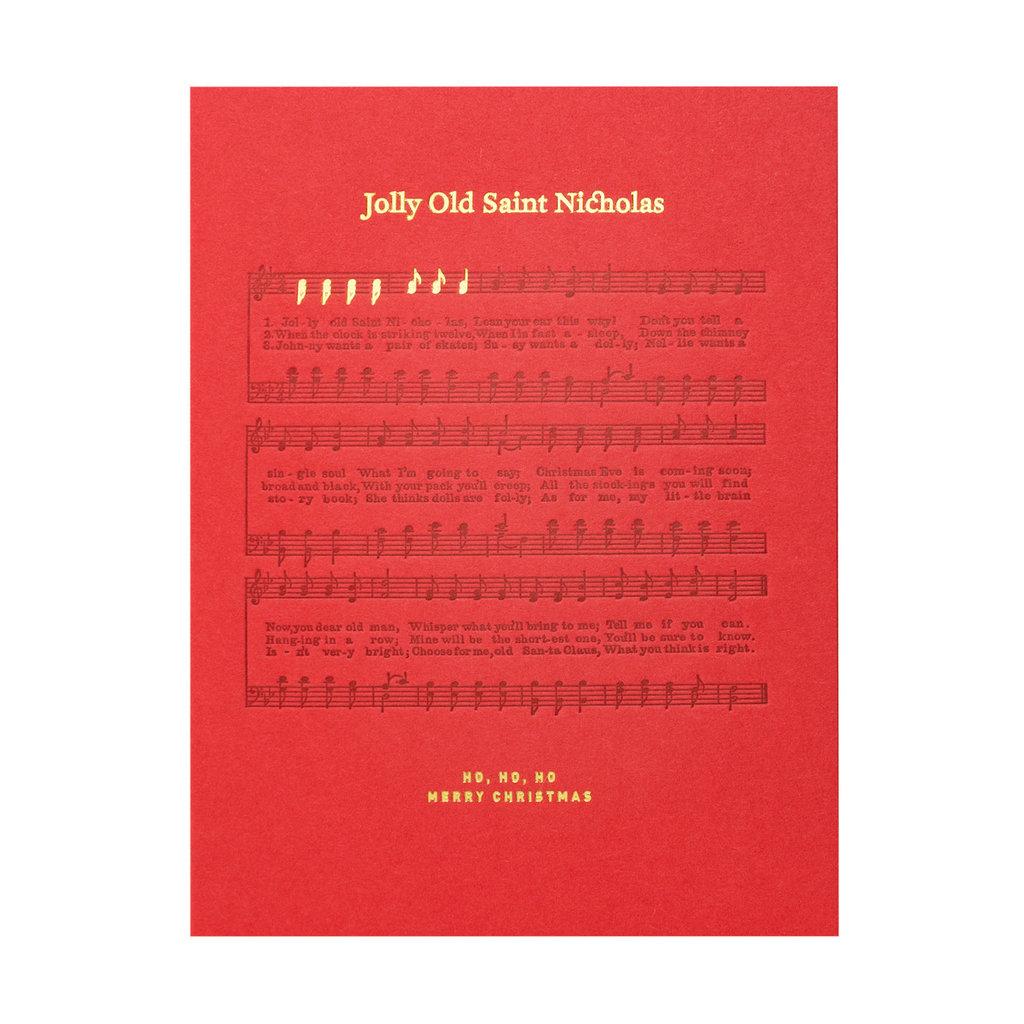 Woodsy Foxman Jolly Old Saint Nicholas Sheet Music Letterpress Card