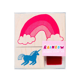 Yellow Owl Workshop Rainbow Unicorn Rubber Stamp Kit with Neon Ink Pad