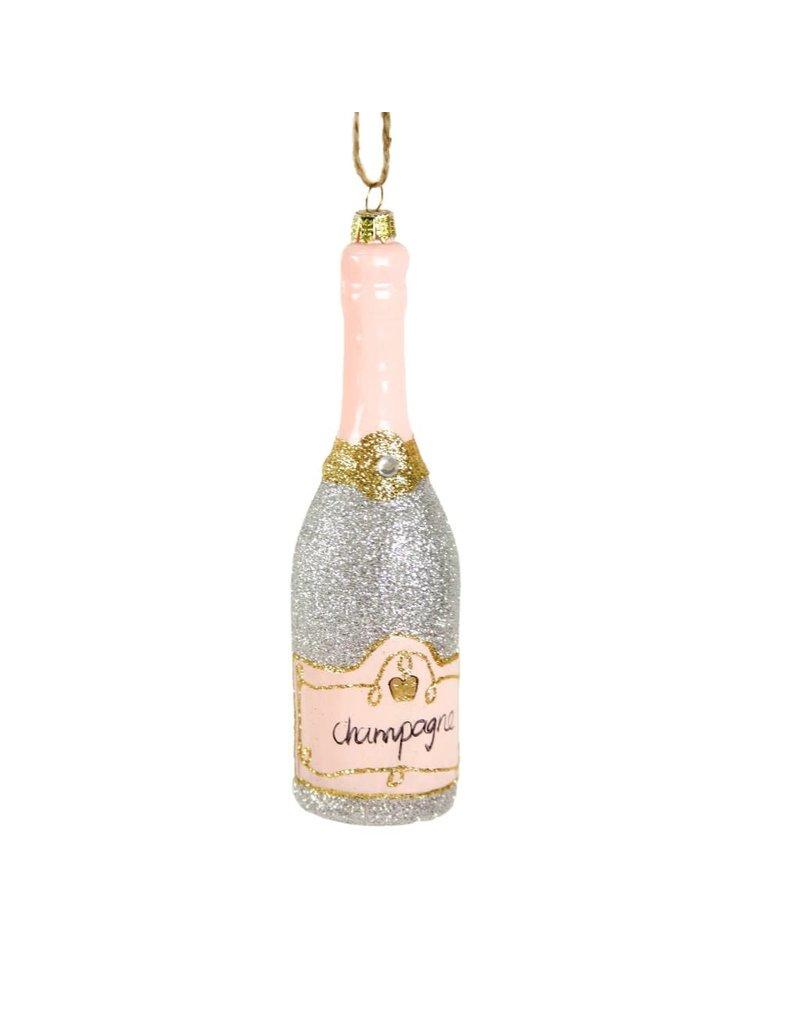 Glittered Champagne Ornament - Silver