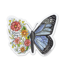 KPB Designs Flower Butterfly Sticker