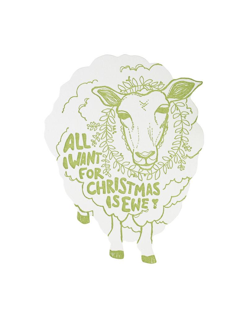 Blackbird Letterpress All I Want for Christmas is Ewe