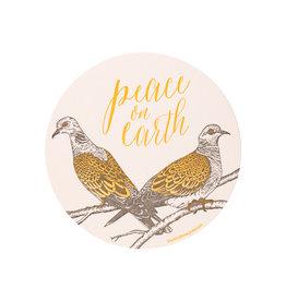 Blackbird Letterpress Turtle Dove Peace on Circle