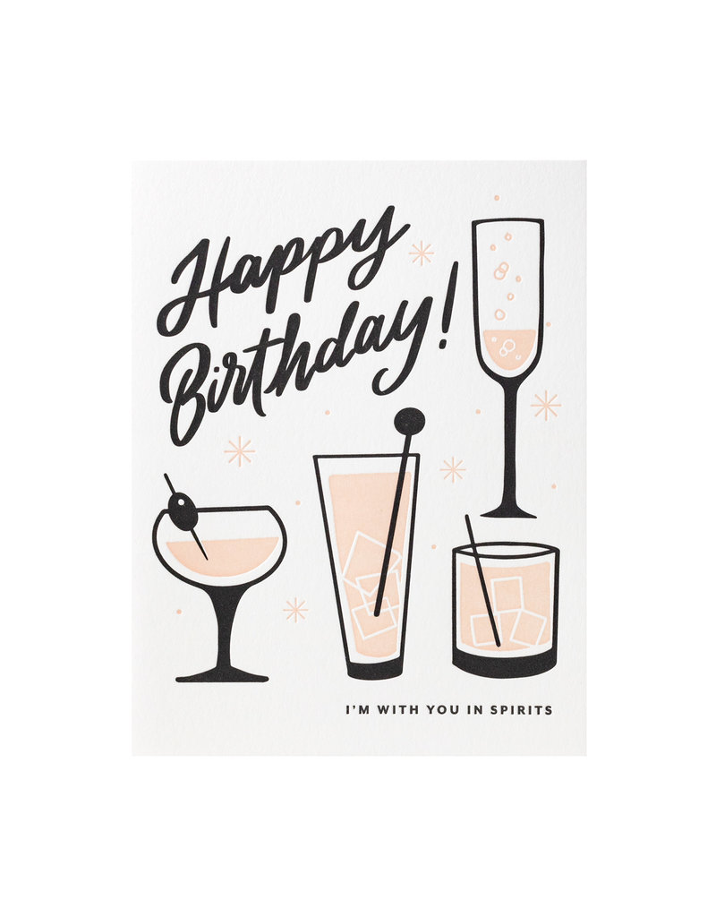Dahlia Press Happy Birthday Spirits - Letterpress Card