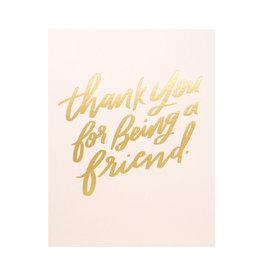 Dahlia Press Thanks Friend - Letterpress Card