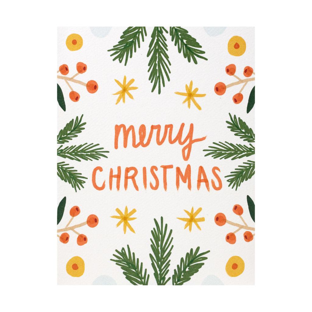 Maija Rebecca Hand Drawn Merry Christmas Symmetry Box of 8 Greeting Cards