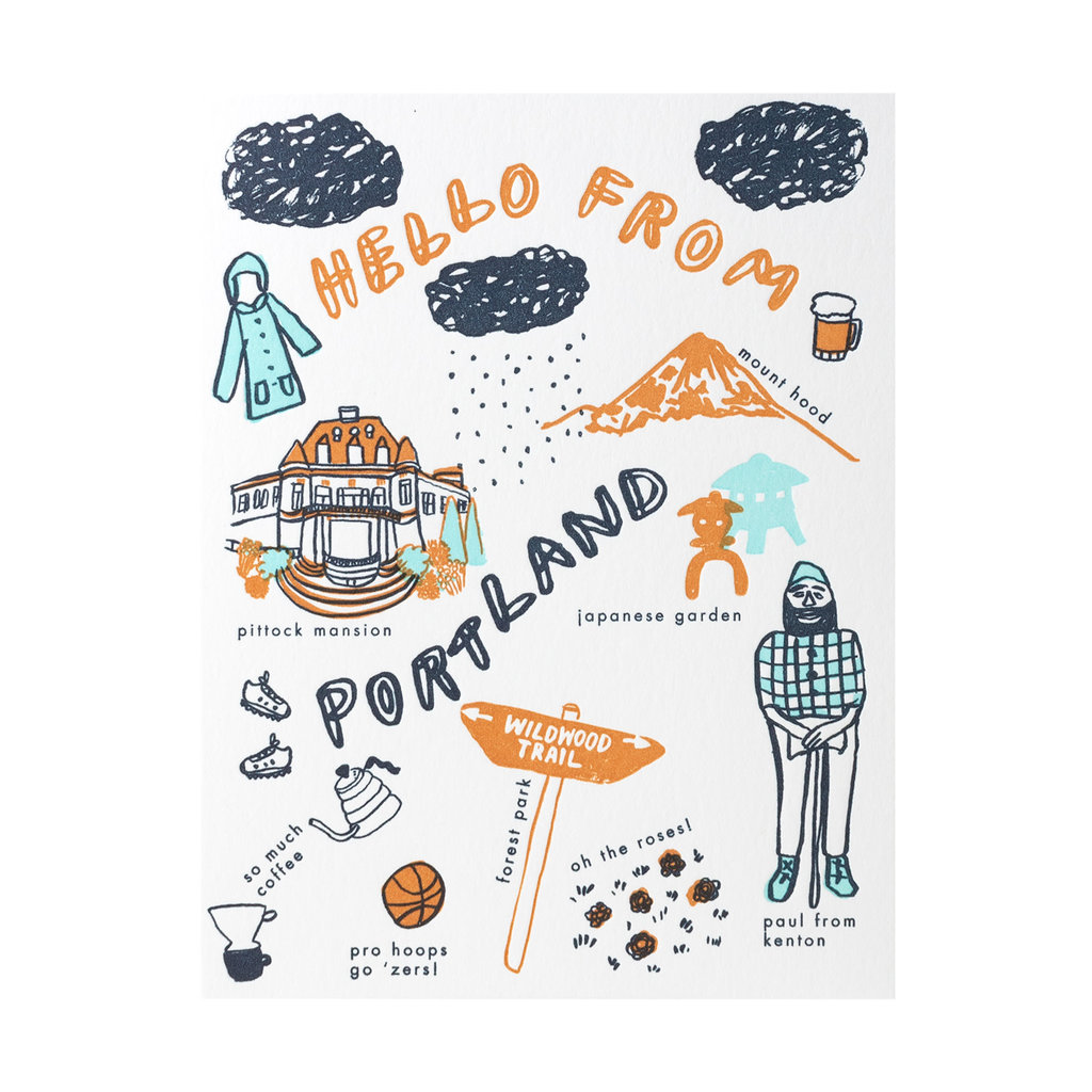 Hello! Lucky Hello From Portland Letterpress Card