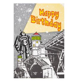 Old School Stationers Happy Birthday Robot - letterpress card