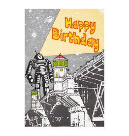 Old School Stationers Happy Birthday Robot letterpress card