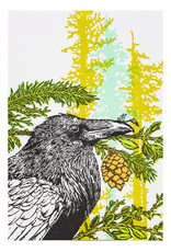 Old School Stationers Crow & Evergreen Trees - letterpress card