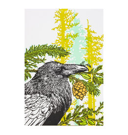 Old School Stationers Crow & Evergreen Trees letterpress card