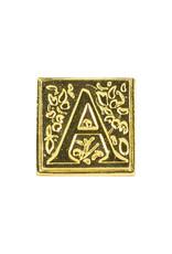 "Freund Mayer Florentine Square Brass Seal Filigree ""A"""