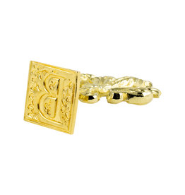 "Freund Mayer Florentine Square Brass Seal Filigree ""B"""