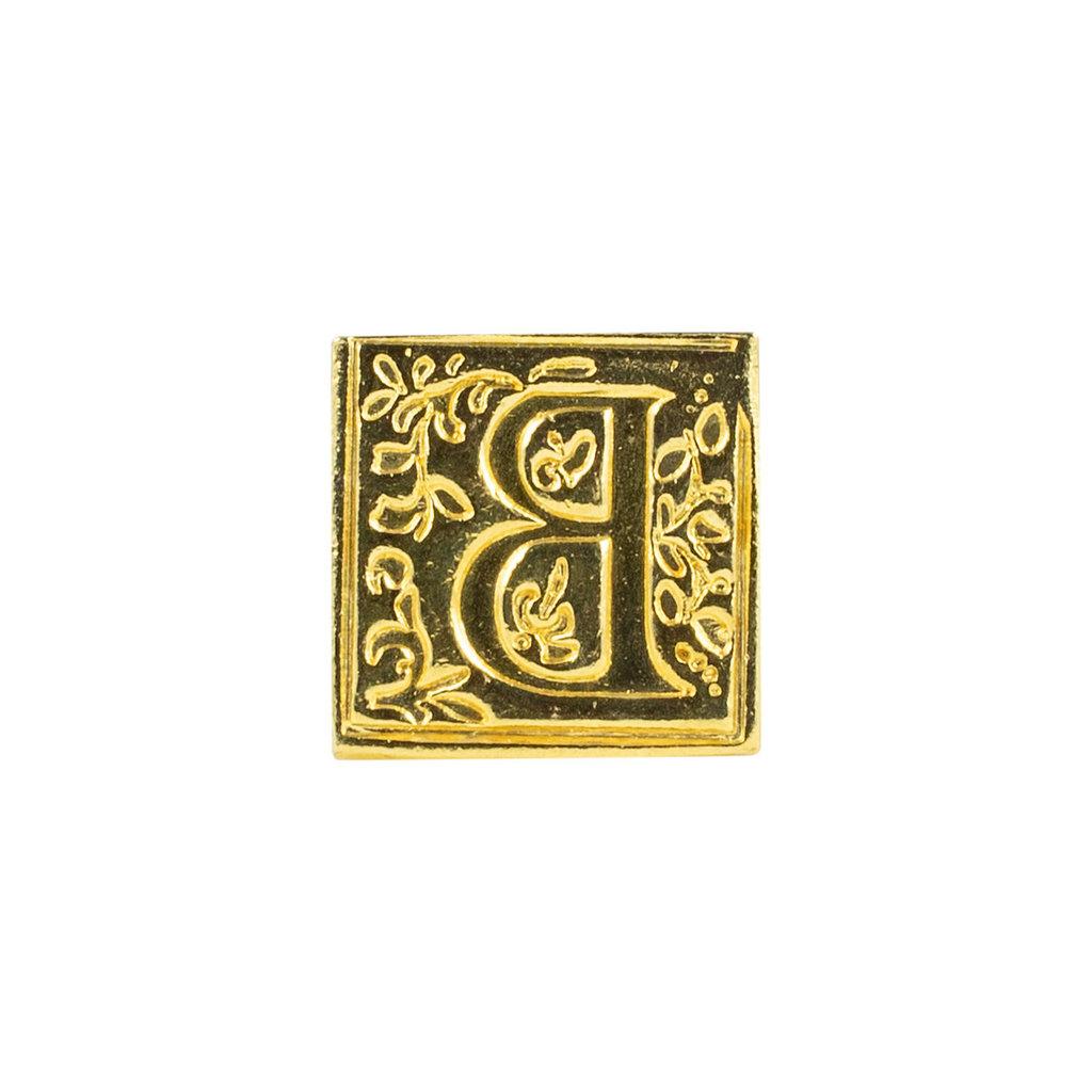 "Freund Mayer Florentine Square Brass Seal Filigree ""B"""