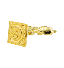 "Freund Mayer Florentine Square Brass Seal Filigree ""C"""