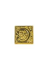 "Freund Mayer Florentine Square Brass Seal Filigree ""C"""