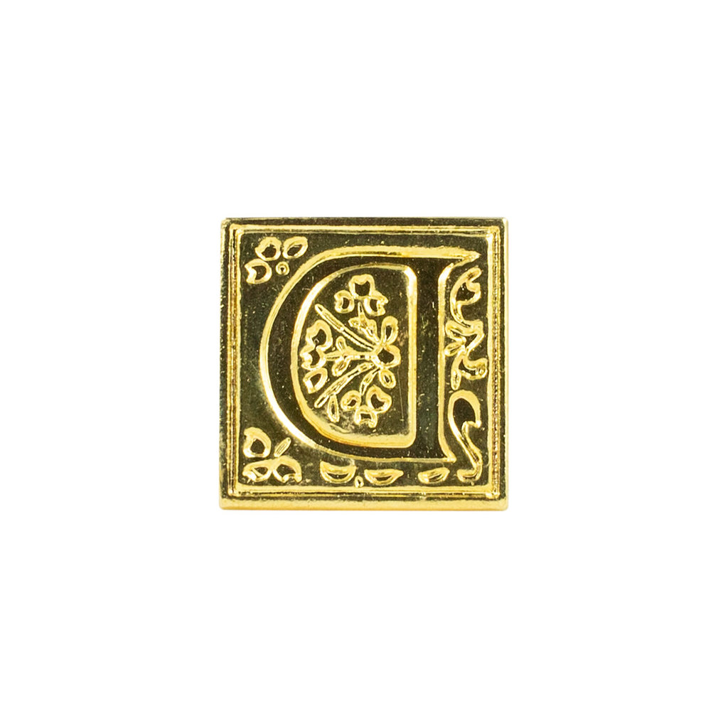 "Freund Mayer Florentine Square Brass Seal Filigree ""D"""