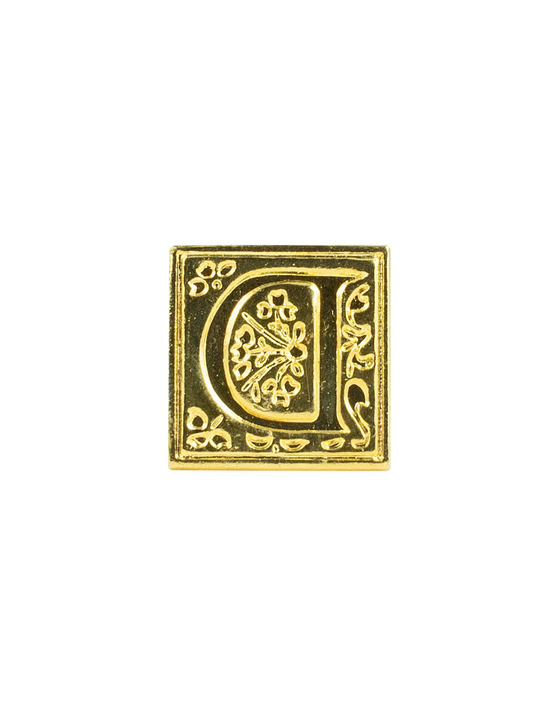 "Freund Mayer Florentine Square Brass Seal Filigree ""D"""