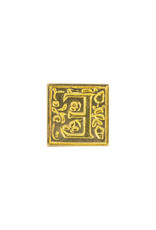 "Freund Mayer Florentine Square Brass Seal Filigree ""E"""