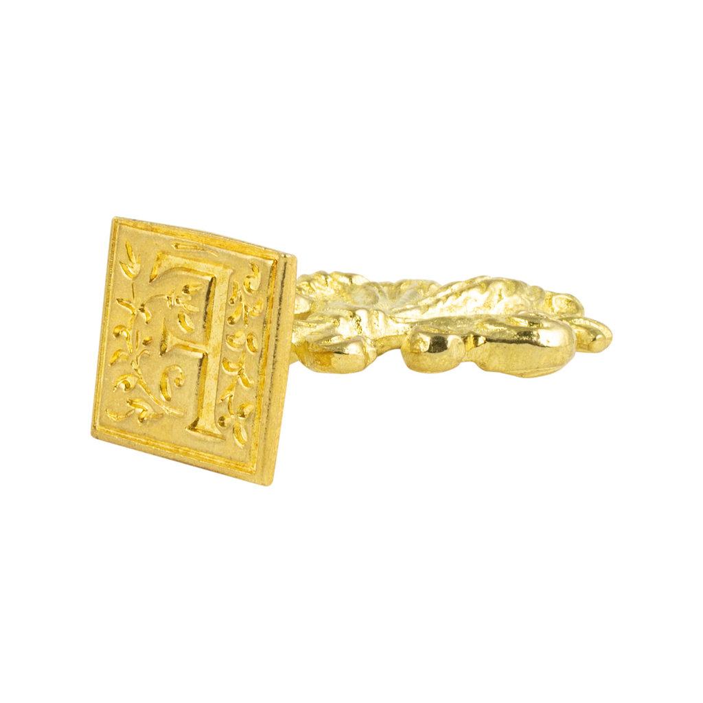 "Freund Mayer Florentine Square Brass Seal Filigree ""F"""