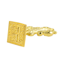 "Freund Mayer Florentine Square Brass Seal Filigree ""F"""