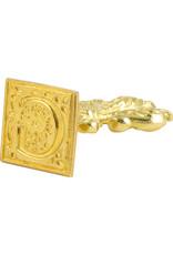 "Freund Mayer Florentine Square Brass Seal Filigree ""G"""