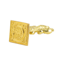 "Freund Mayer Florentine Square Brass Seal Filigree ""G"""