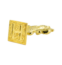 "Freund Mayer Florentine Square Brass Seal Filigree ""H"""