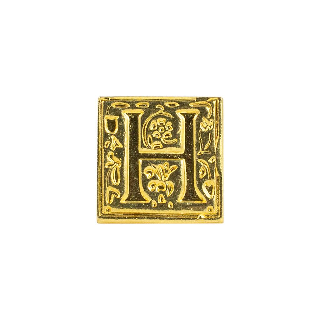 "Freund Mayer Florentine Square Brass Seal Filigree ""H"""