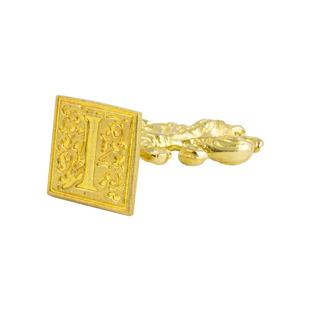 "Freund Mayer Florentine Square Brass Seal Filigree ""I"""