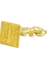 "Freund Mayer Florentine Square Brass Seal Filigree ""I"""
