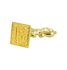 "Freund Mayer Florentine Square Brass Seal Filigree ""J"""