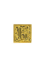 "Freund Mayer Florentine Square Brass Seal Filigree ""J"""