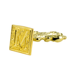 "Freund Mayer Florentine Square Brass Seal Filigree ""M"""