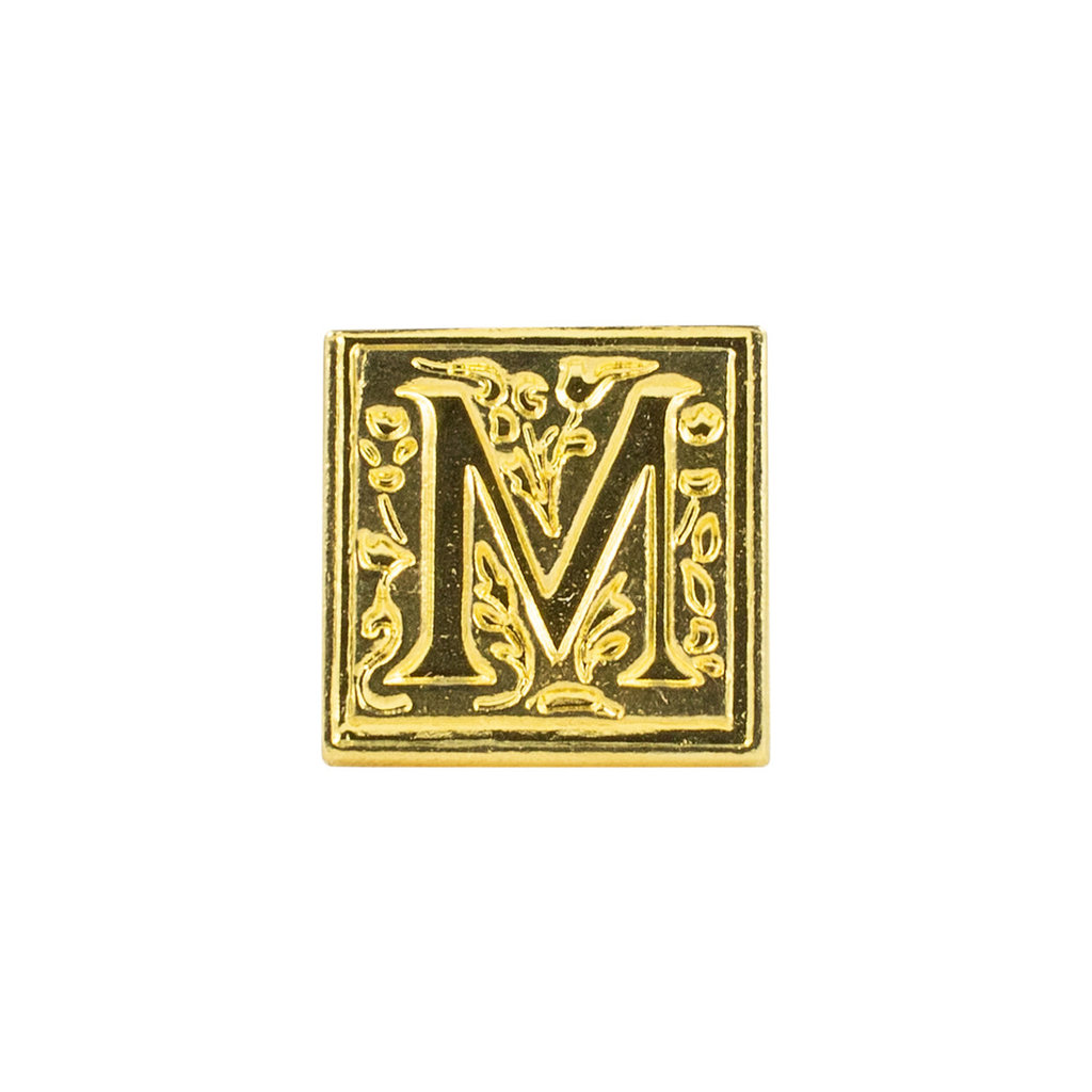 "Freund Mayer Florentine Square Brass Seal Filigree ""M"""