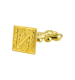 "Freund Mayer Florentine Square Brass Seal Filigree ""N"""