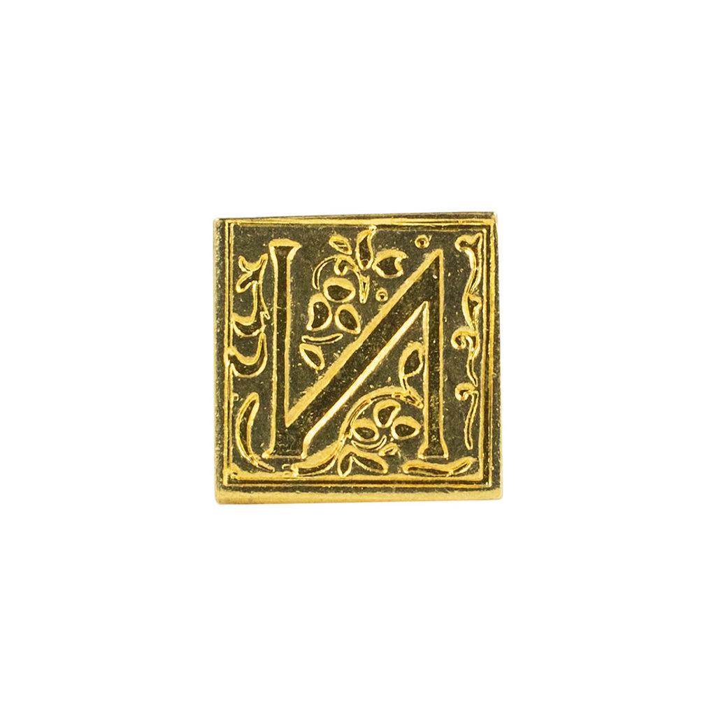 "Freund Mayer Florentine Square Brass Seal Filigree ""N"""
