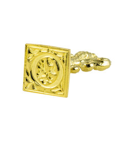 "Freund Mayer Florentine Square Brass Seal Filigree ""O"""
