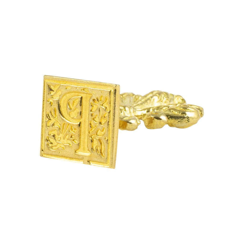 "Freund Mayer Florentine Square Brass Seal Filigree ""P"""