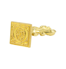 "Freund Mayer Florentine Square Brass Seal Filigree ""Q"""