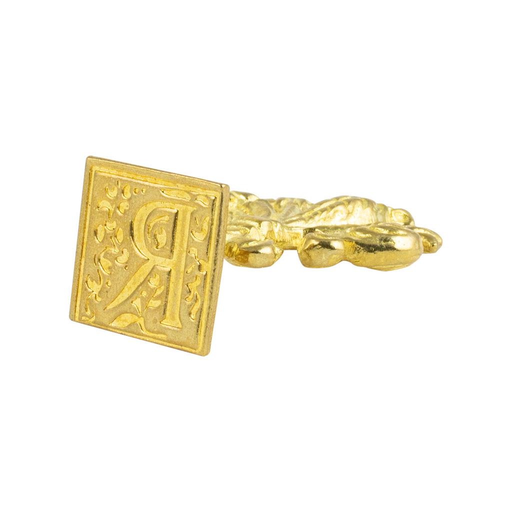 "Freund Mayer Florentine Square Brass Seal Filigree ""R"""