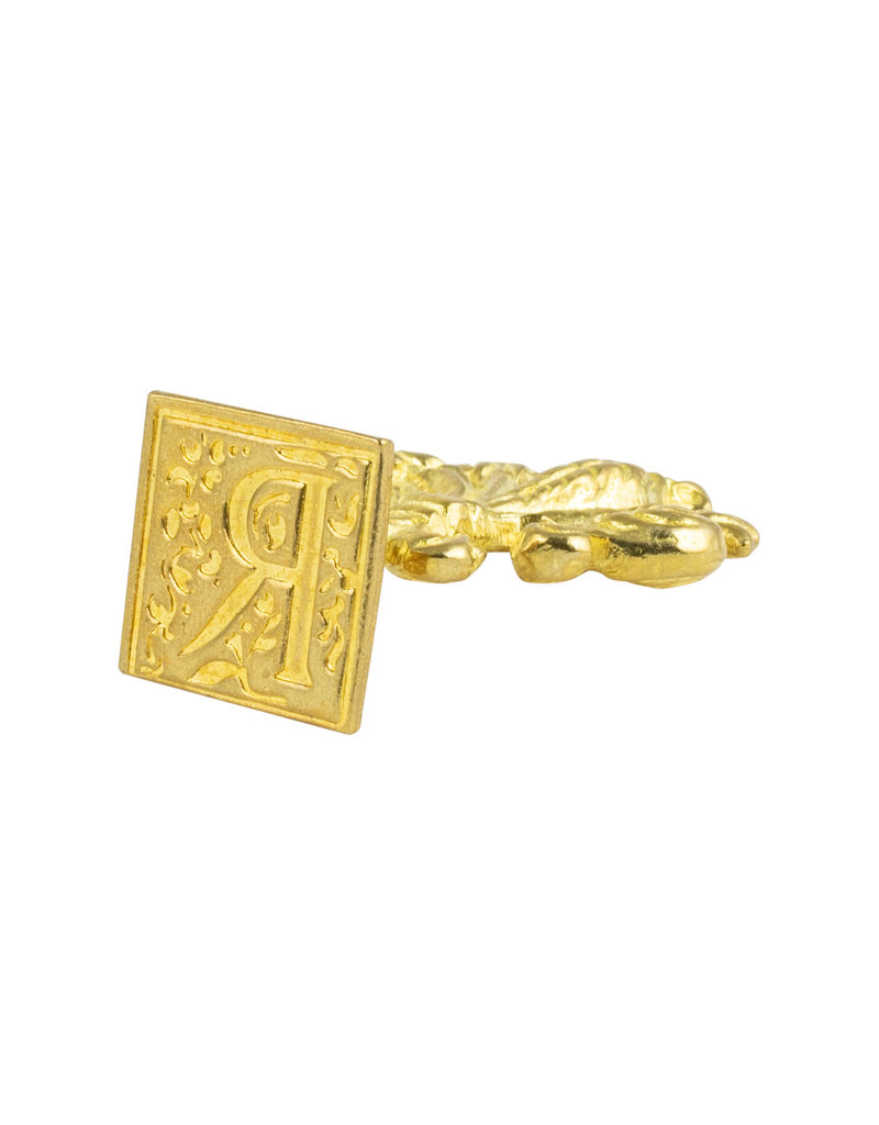 "Freund Mayer Florentine Square Brass Seal Filigree ""R"""