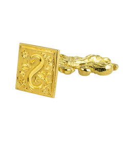 "Freund Mayer Florentine Square Brass Seal Filigree ""S"""