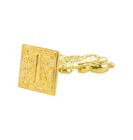 "Freund Mayer Florentine Square Brass Seal Filigree ""T"""