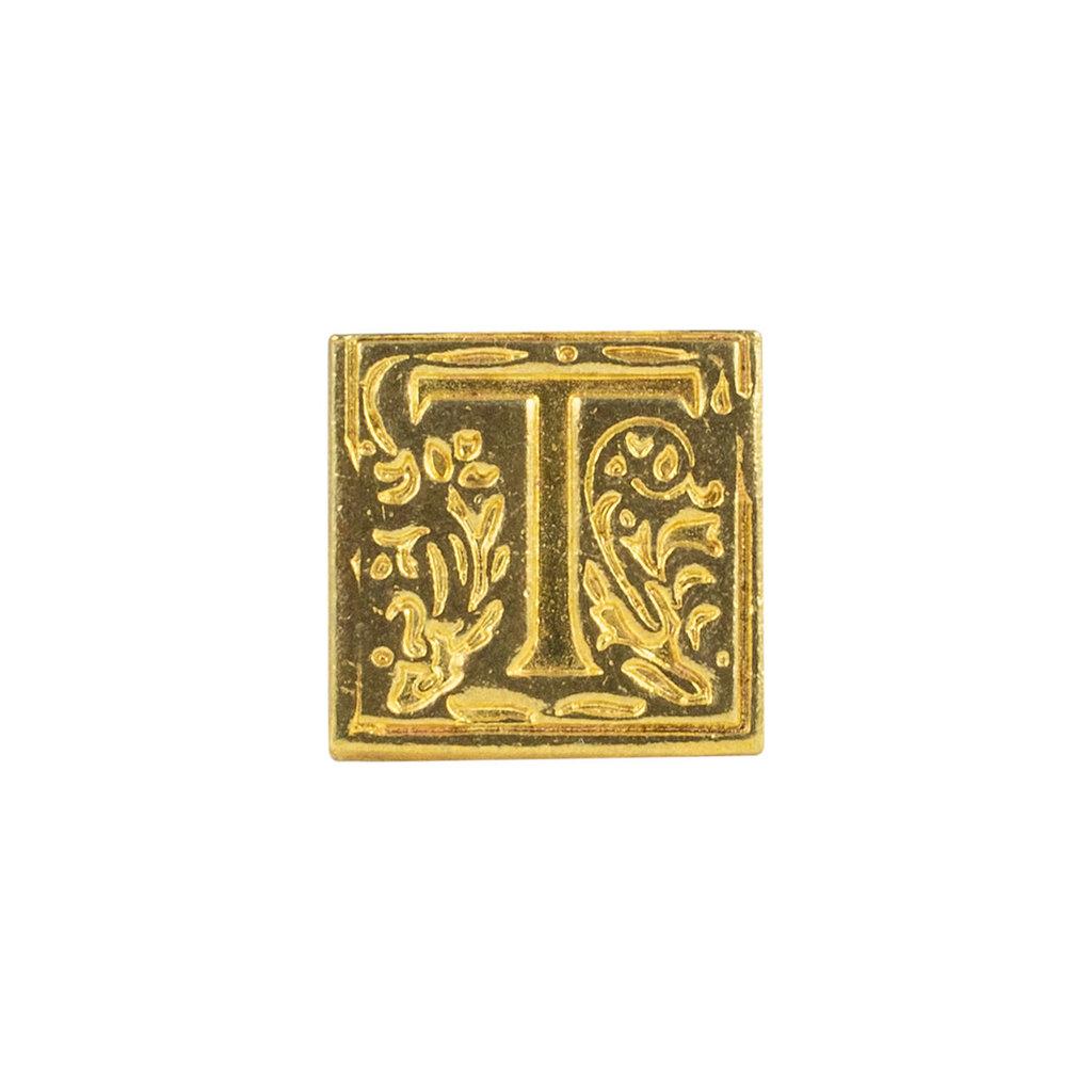 "Freund Mayer Florentine Square Brass Seal Filigree ""T"""