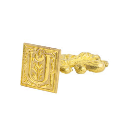 "Freund Mayer Florentine Square Brass Seal Filigree ""U"""
