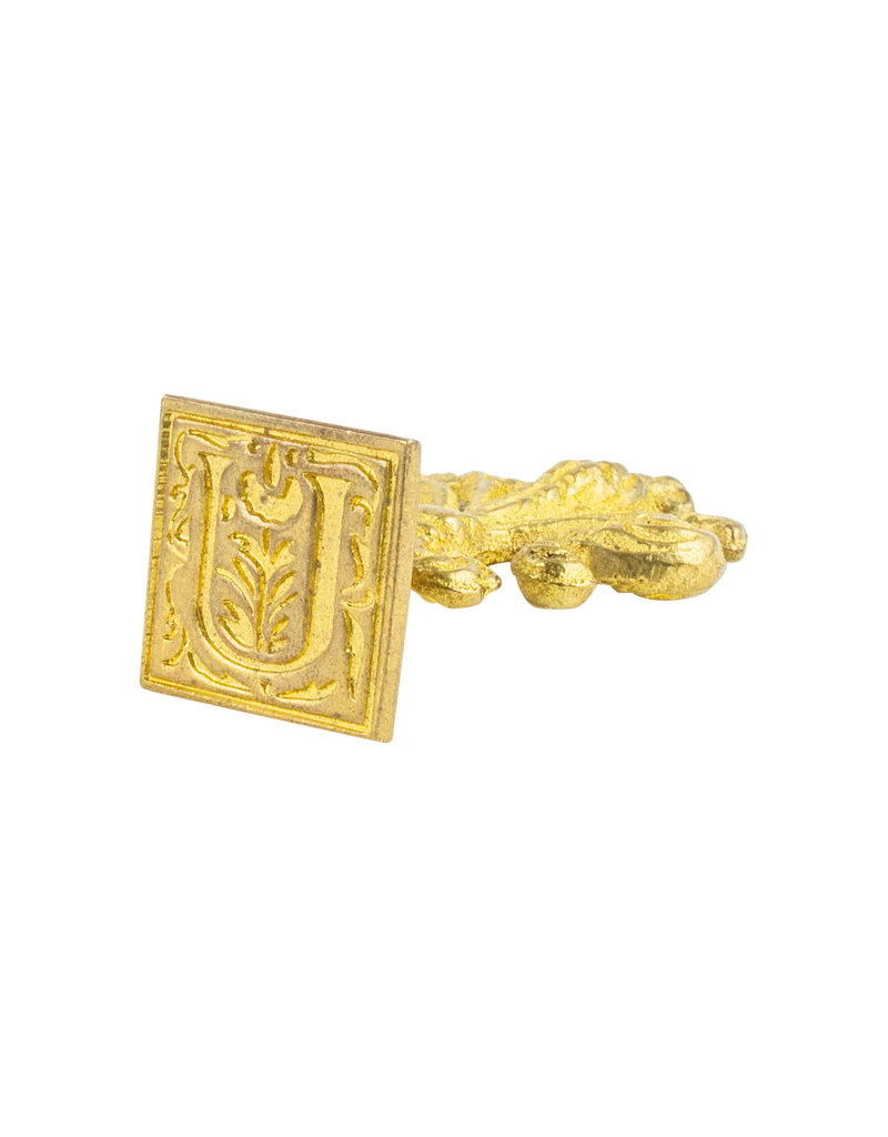 "Freund Mayer Florentine Square Brass Seal Filigree ""U"""