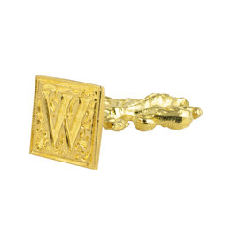 "Freund Mayer Florentine Square Brass Seal Filigree ""W"""